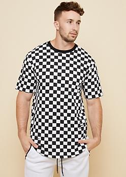 Checkered Print Ripped Short Sleeve Ringer Tee