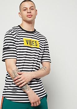 Black Striped Shredded Vibes Ringer Graphic Tee