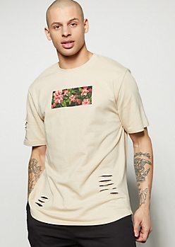 Sand Slashed Tropical Striped Graphic Tee