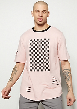 Pink Slashed Tropical Checkered Print Graphic Tee