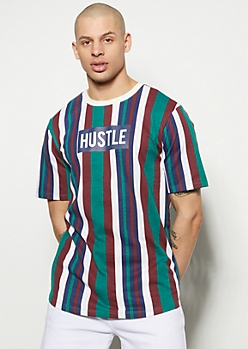 Green Striped Hustle Graphic Tee