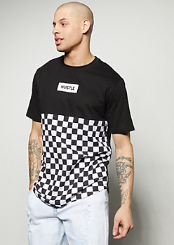 Black Checkered Print Colorblock Hustle Graphic Tee