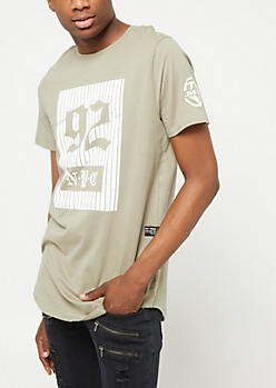Olive Pinstriped 92 NYC Tee