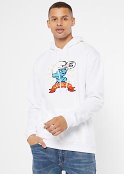 White Chenille Smurf Graphic Hoodie