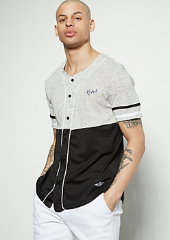 Black Space Dye Colorblock Rebels Baseball Jersey