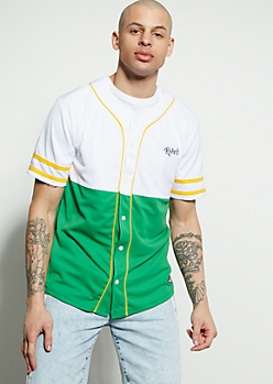 Green Colorblock Rebels Baseball Jersey