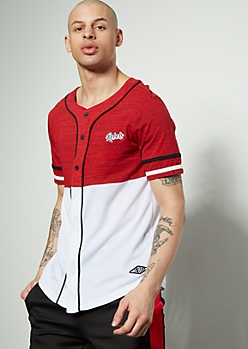 Red Space Dye Colorblock Rebels Baseball Jersey