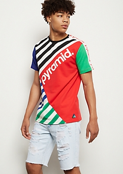 Black Pyramid Red Colorblock Striped Tee