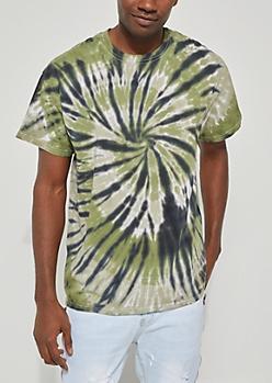 Green Spiral Tie Dye Tee
