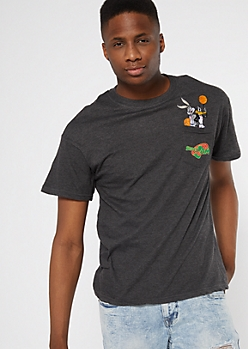 Gray Space Jam Pocket Embroidered Tee