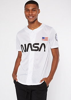 White NASA Baseball Jersey Top