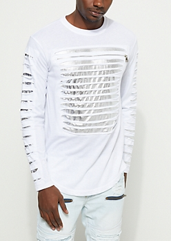 White Foiled Mesh Slashed Top