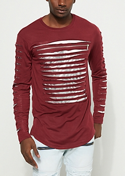Burgundy Foiled Mesh Slashed Top