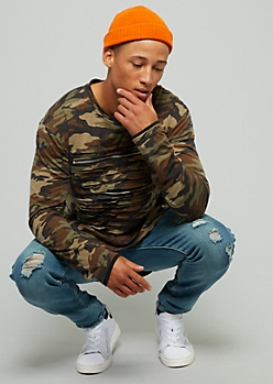 Camo Print Slash And Zip Layered Long Sleeve Tee