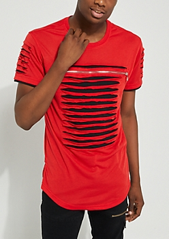 Red Slashed & Zipped Layered Tee
