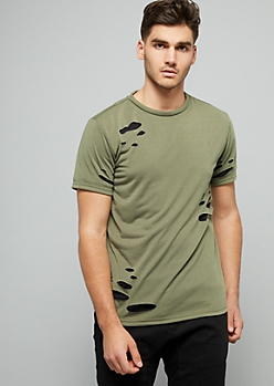Olive Green Slashed Layered Tee