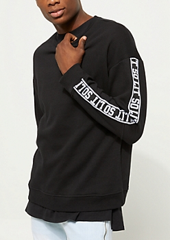 Black So Lit Tape Crewneck Sweatshirt