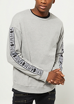 Gray Savage Tape Crewneck Sweatshirt