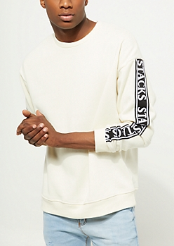 White Stacks Tape Crewneck Sweatshirt
