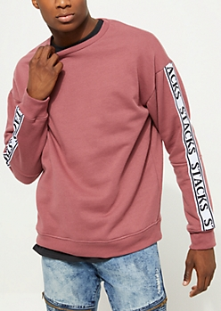Dark Pink Stacks Tape Crewneck Sweatshirt