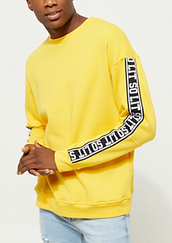 Yellow So Lit Tape Crewneck Sweatshirt