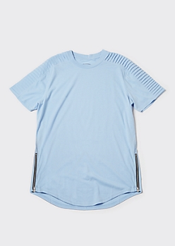 Light Blue Zippered Moto Tee