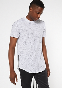 White Speckle Print Moto Side Zip Tee