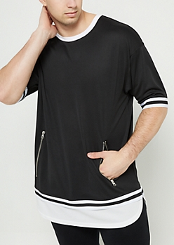 Black Double Layer Mesh Zip Tee