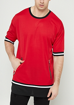 Red Double Layer Mesh Zip Tee