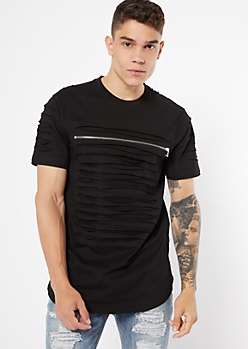Black Slashed Zip Tee