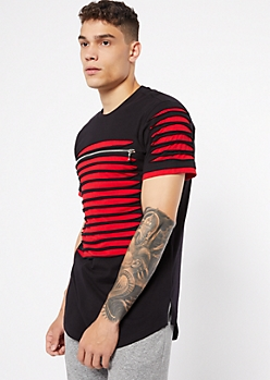 Black to Red Contrast Slashed Zip Tee