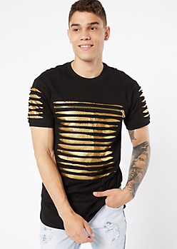 Gold Contrast Mesh Slashed Zip Tee