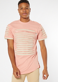 Pink Contrast Slashed Zip Chest Tee