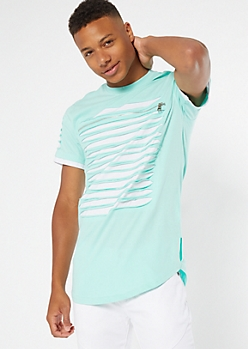 Mint Contrast Slashed Zip Chest Tee