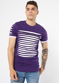 Purple Contrast Slashed Zip Tee