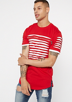 Red Contrast White Slashed Zip Tee