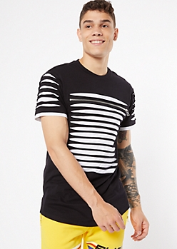 Black Contrast Slashed Zip Tee