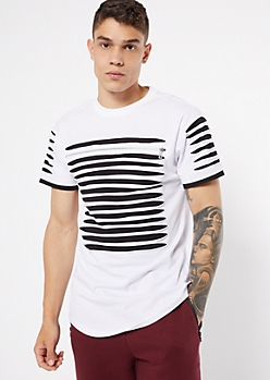 White Contrast Slashed Zip Tee
