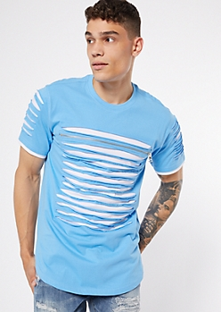 Blue Contrast Slashed Zip Tee