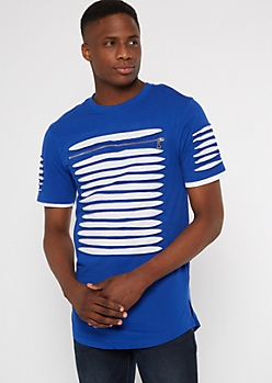 Blue Contrast Slashed Zip Chest Tee