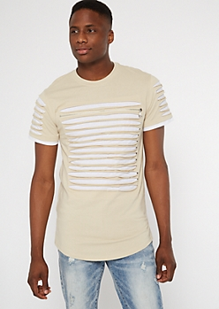 Sand Contrast Slashed Zip Chest Tee