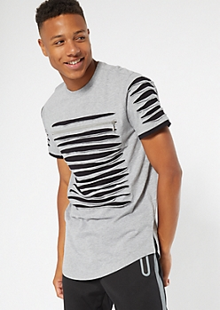 Gray Contrast Slashed Zip Chest Tee