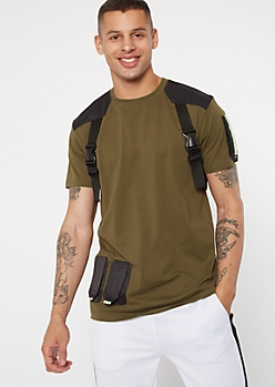 Olive Tactical Buckle Crew Neck Tee