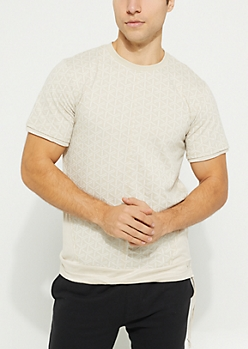 Cream Printed Faux Suede Side Tee