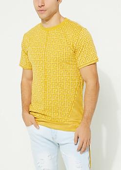 Dark Yellow Printed Faux Suede Tie Tee