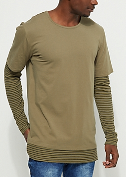 Olive Layered Long Sleeve Tee