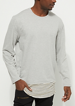 Heathered Gray Layered Sweatshirt