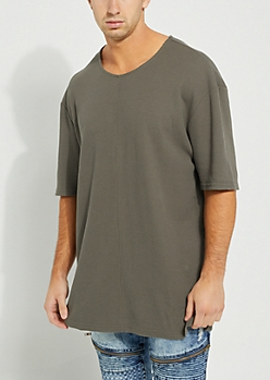 Olive Longer Length Thermal Tee
