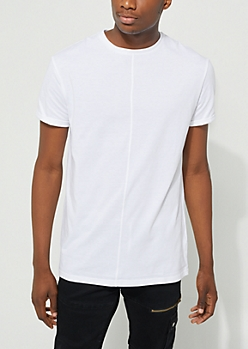 White Longer Length Cuffed Tee