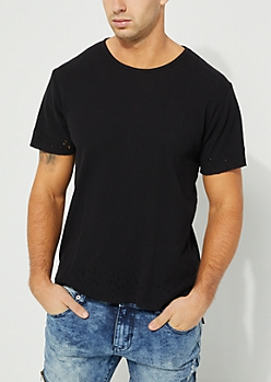 Distressed Black Thermal Tee